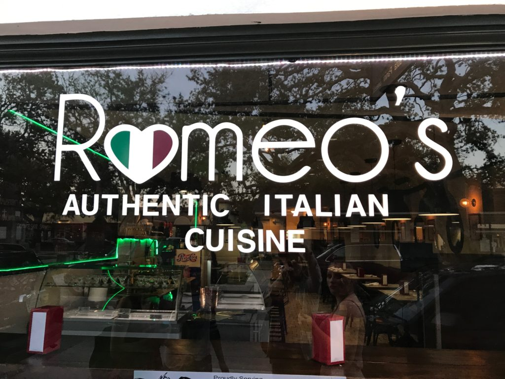 Romeo's Italian restaurant window