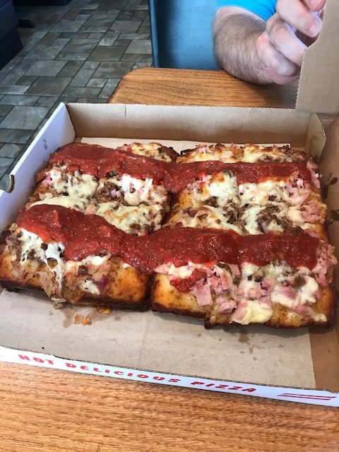 Detroit style pizza in a box