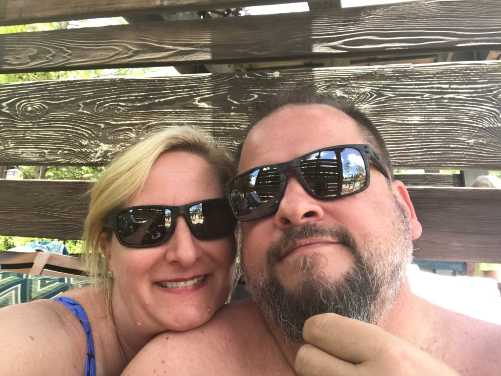 Selfie of couple at pool. Disney's Copper Creek Villas at Wilderness Lodge