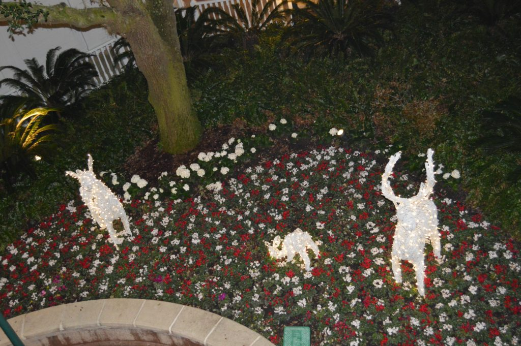 Walt Disney World Hotel Holiday Decorations outside of Grand Floridian during hotel hopping at Disney's Bay Lake