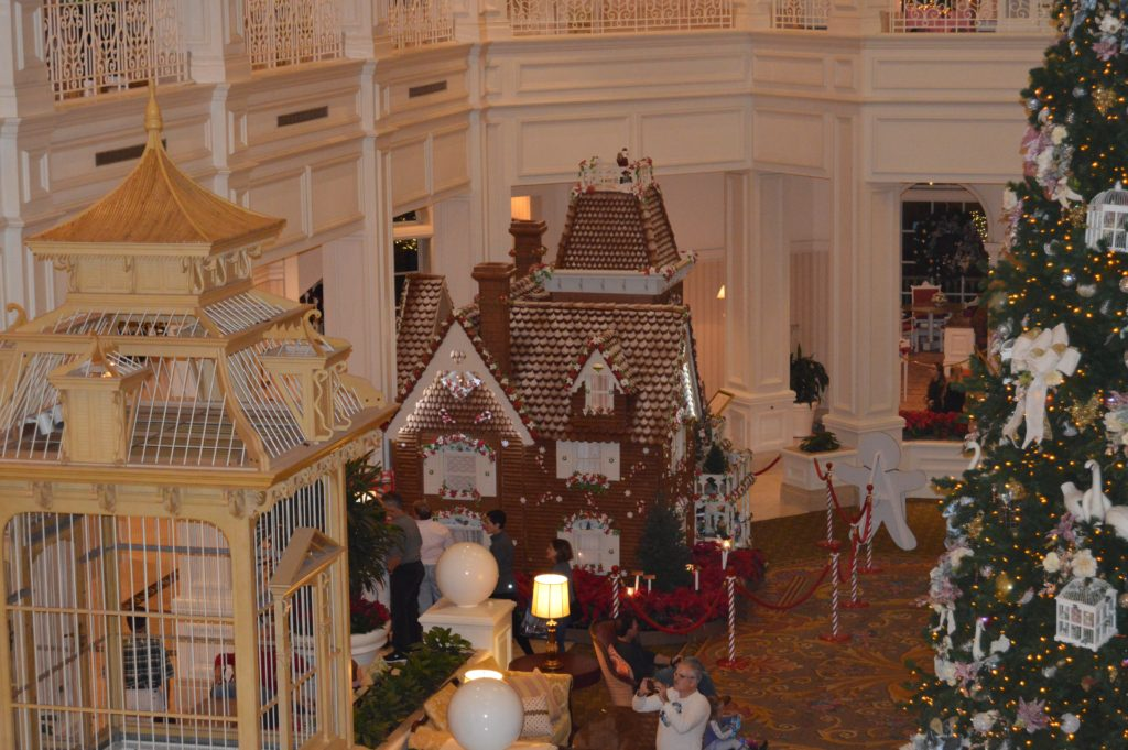 Walt Disney World Hotel Holiday Decorations at Grand Floridian overlooking the lobby