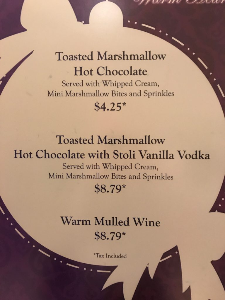 Special drink menu at Disney's Grand Floridian during the Holidays