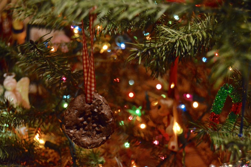 DIY Cinnamon Christmas Ornament hanging on tree