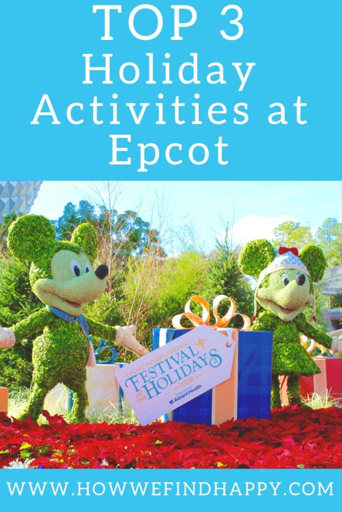 Pinterest graphic with Mickey & Minnie Holiday topiaries