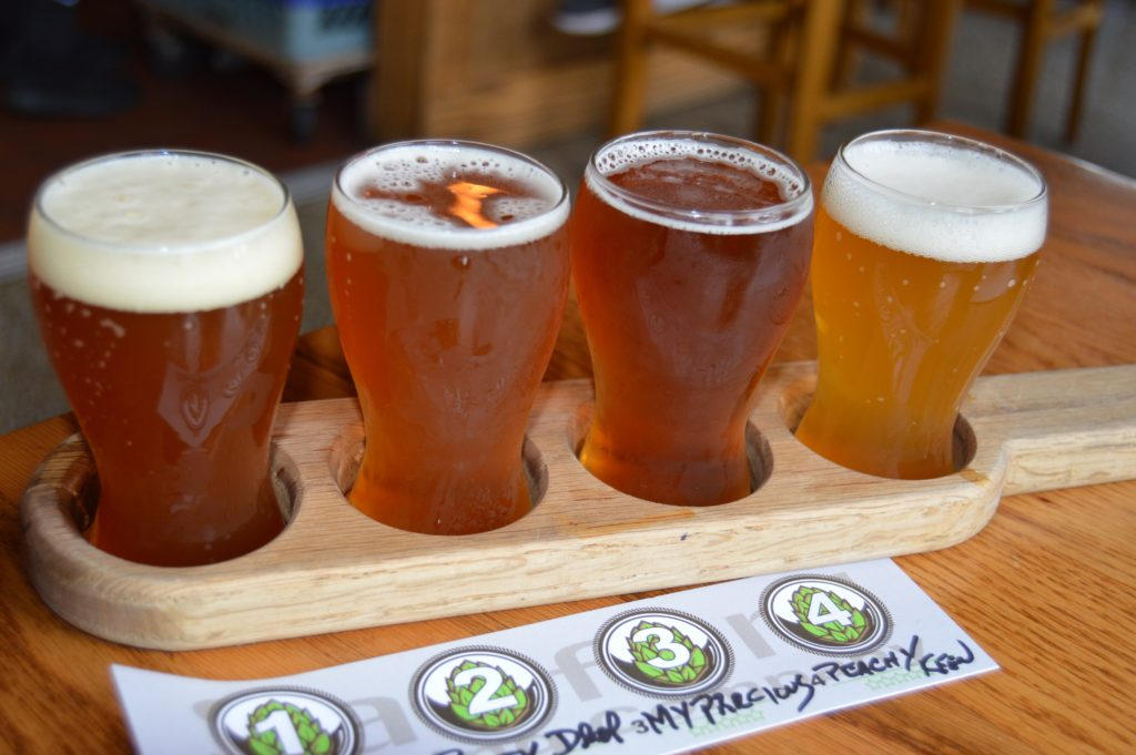 Beer flight at Sanford Brewing Florida Review
