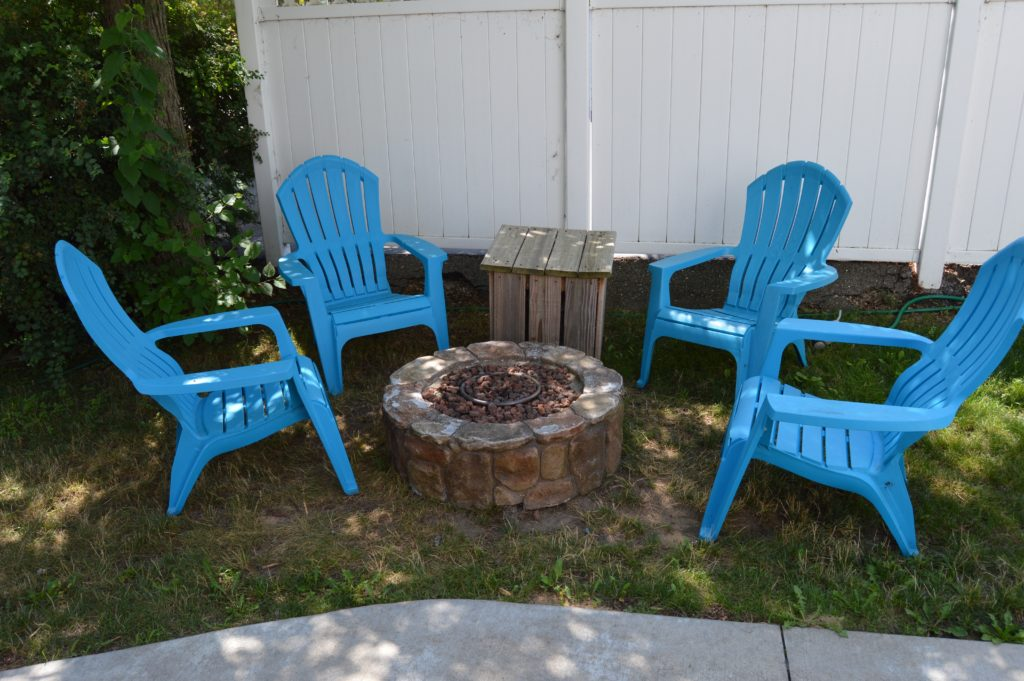 Beach chairs around fire pit