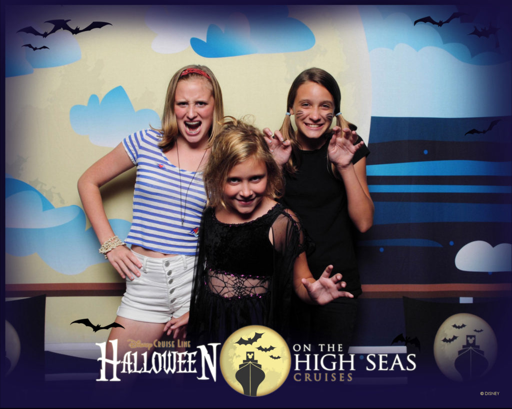 Girls dressed up for Halloween on the High Seas