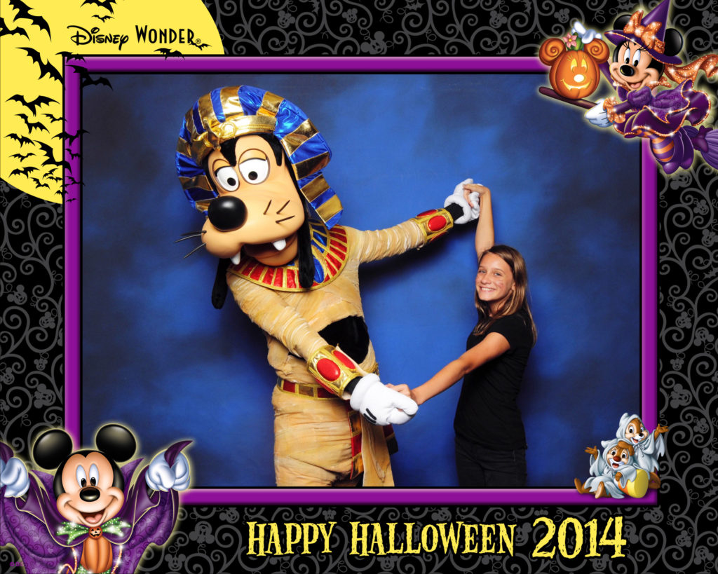 Girl with Goofy in Halloween costume