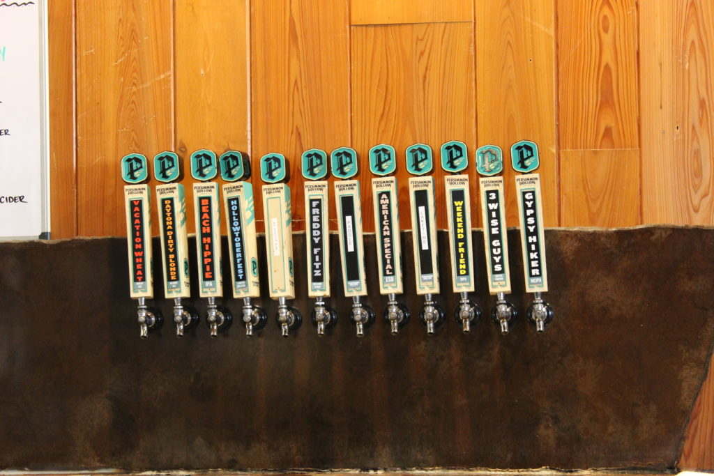 Tap handles at Persimmon Hollow Brewing Co