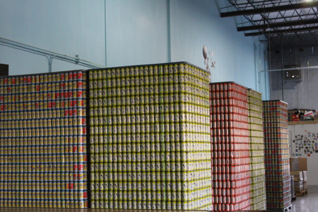 Pallets of beer cans