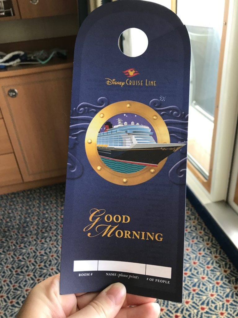 Room service ticket for Disney Cruise