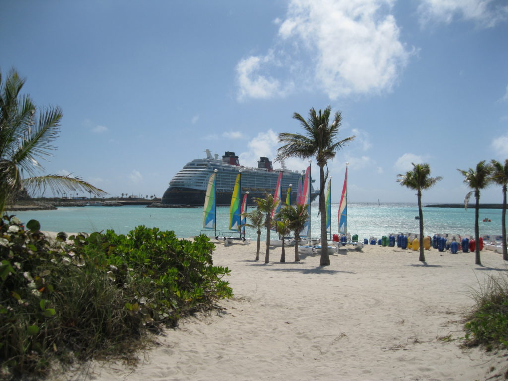 View of Disney Cruise ship from Castaway Cay