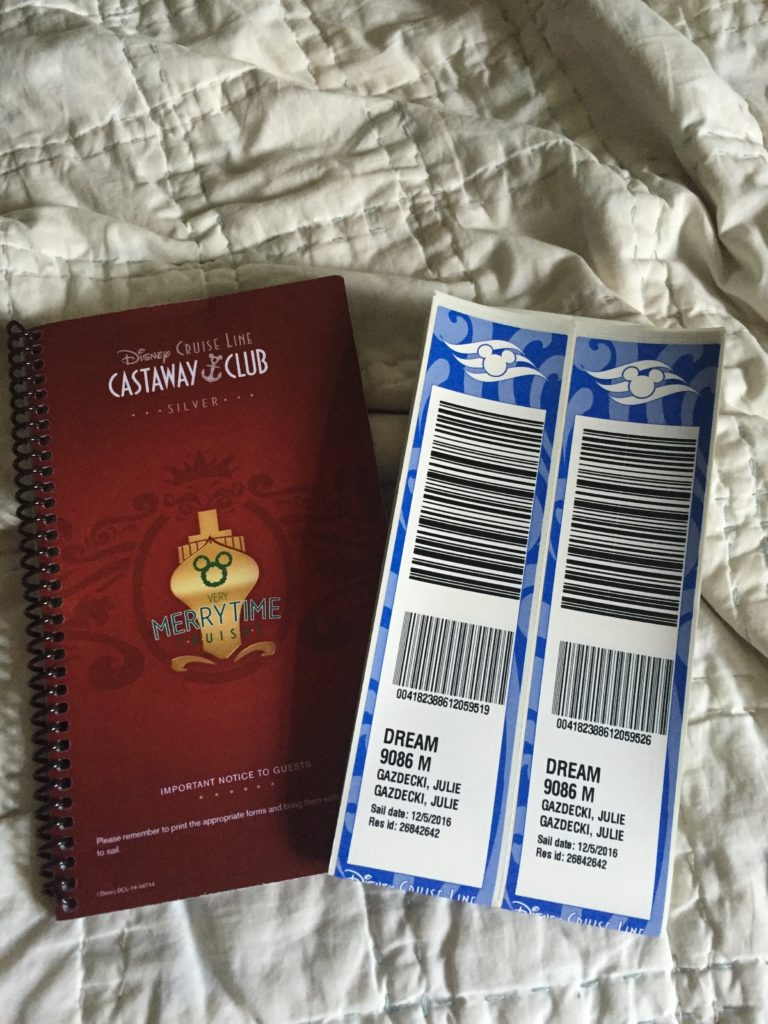 Disney Cruise Itinerary book and luggage tags