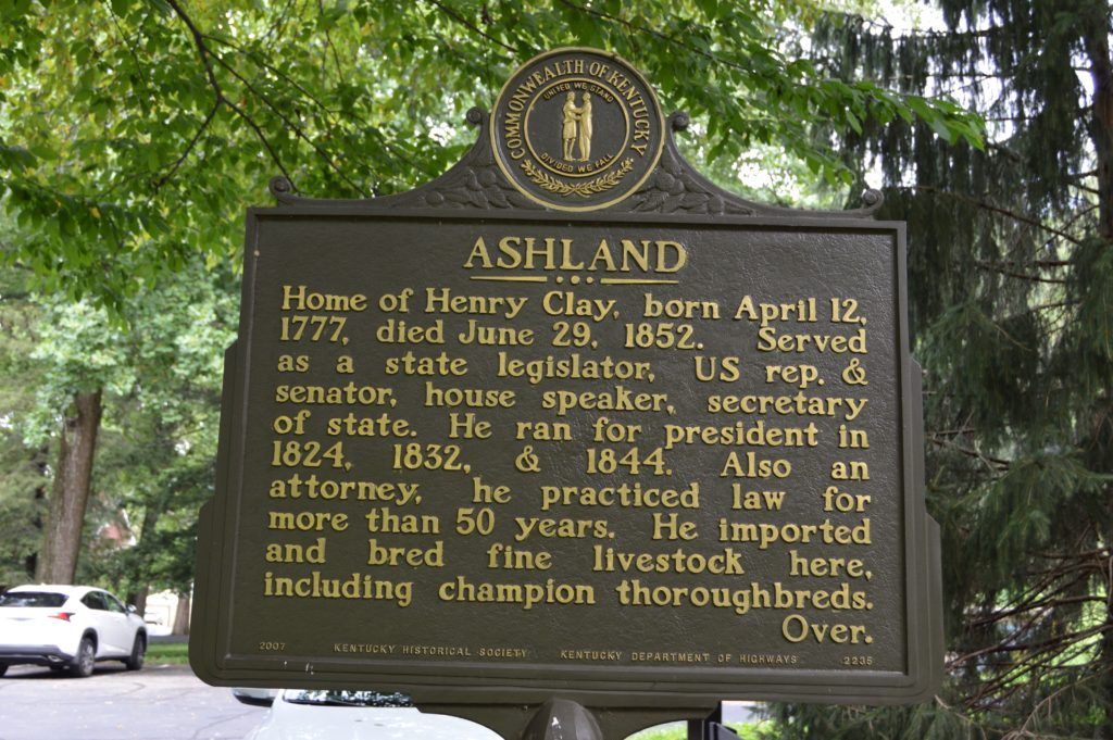 Ashland sign at Henry Clay Estate