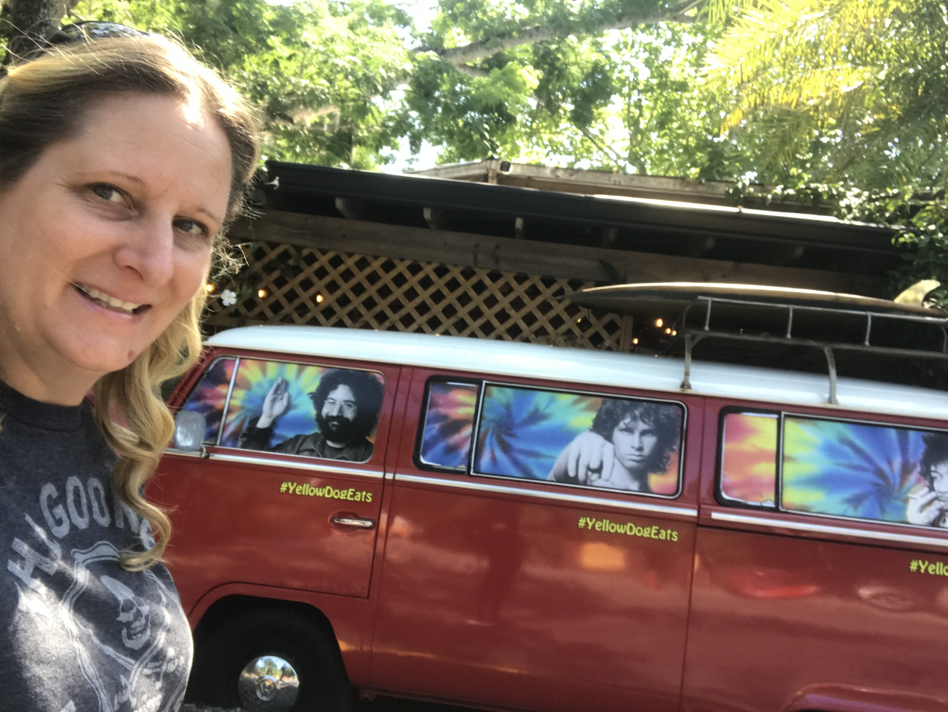 woman with a VW Bus