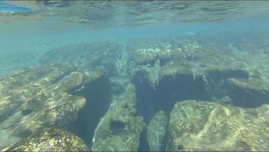 snorkeling underwater view of rock formation