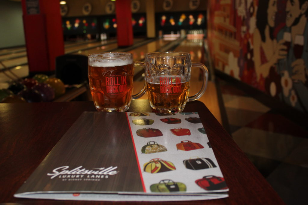 Two mugs of beer at Splitsville
