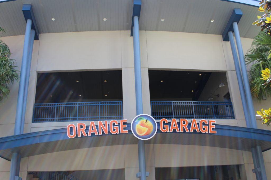 orange garage parking at Disney Springs