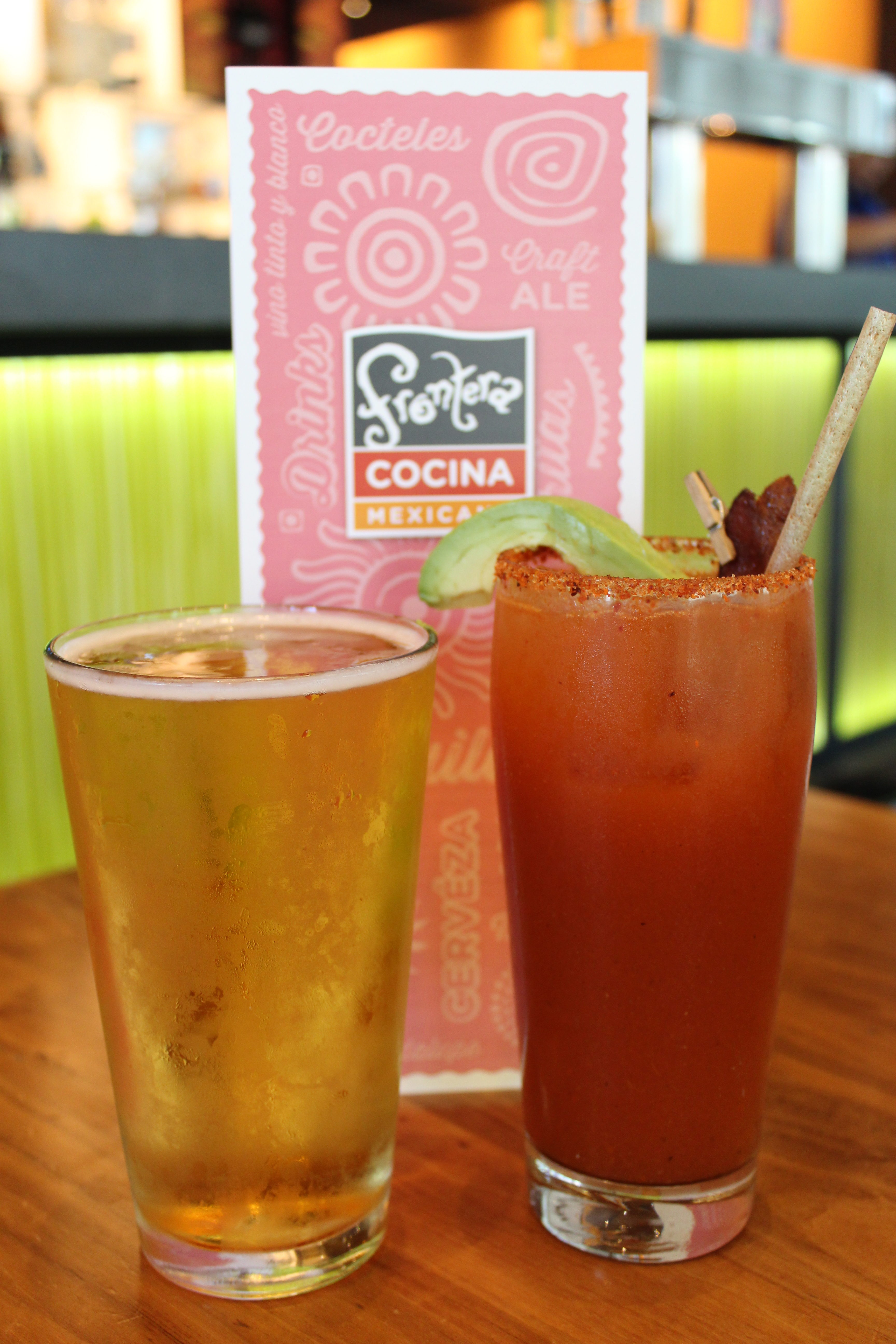 pint of beer and a glass of bloody mary