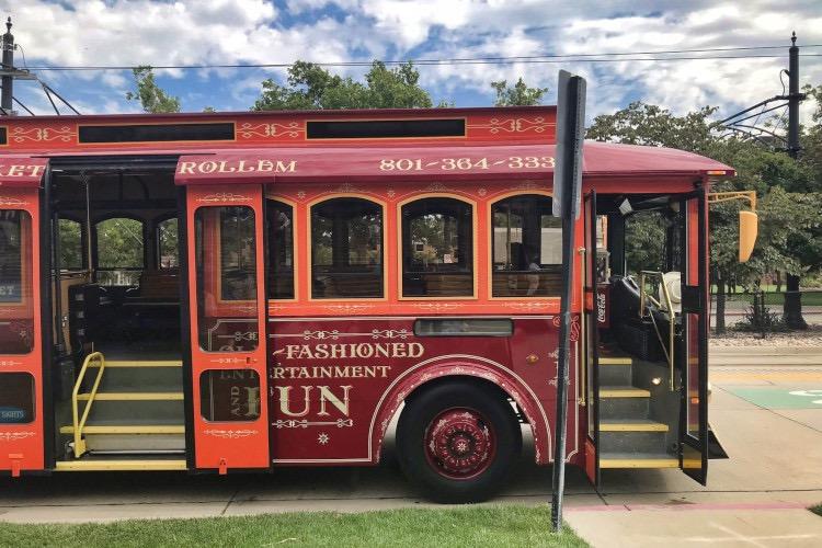 Red trolley car in Salt Lake City