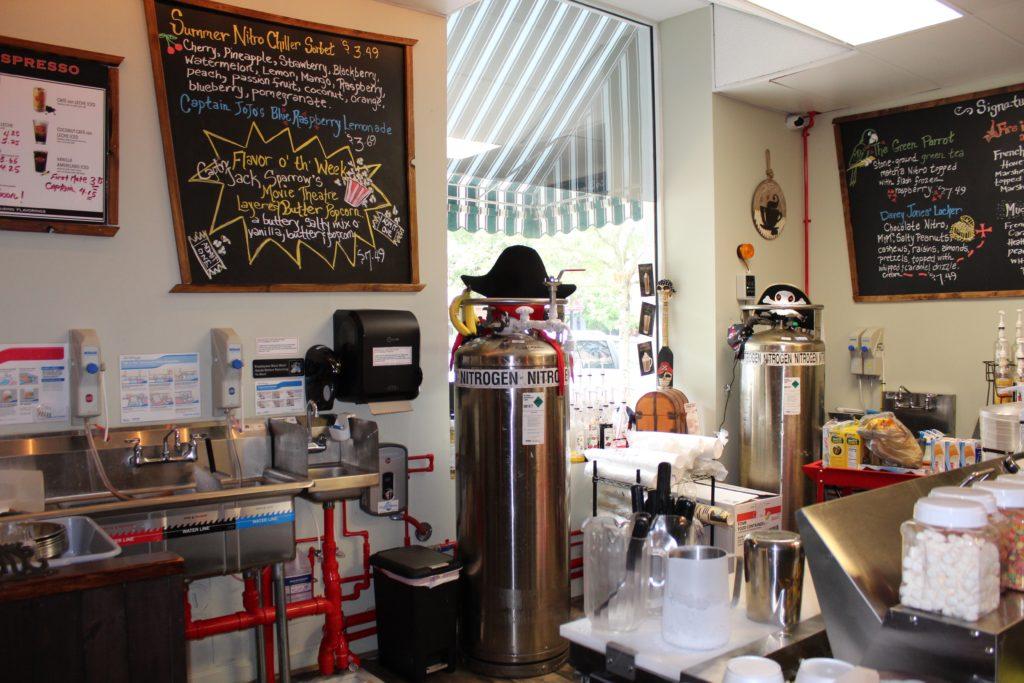 nitrogen tank behind counter at YoHoHo nitro ice cream