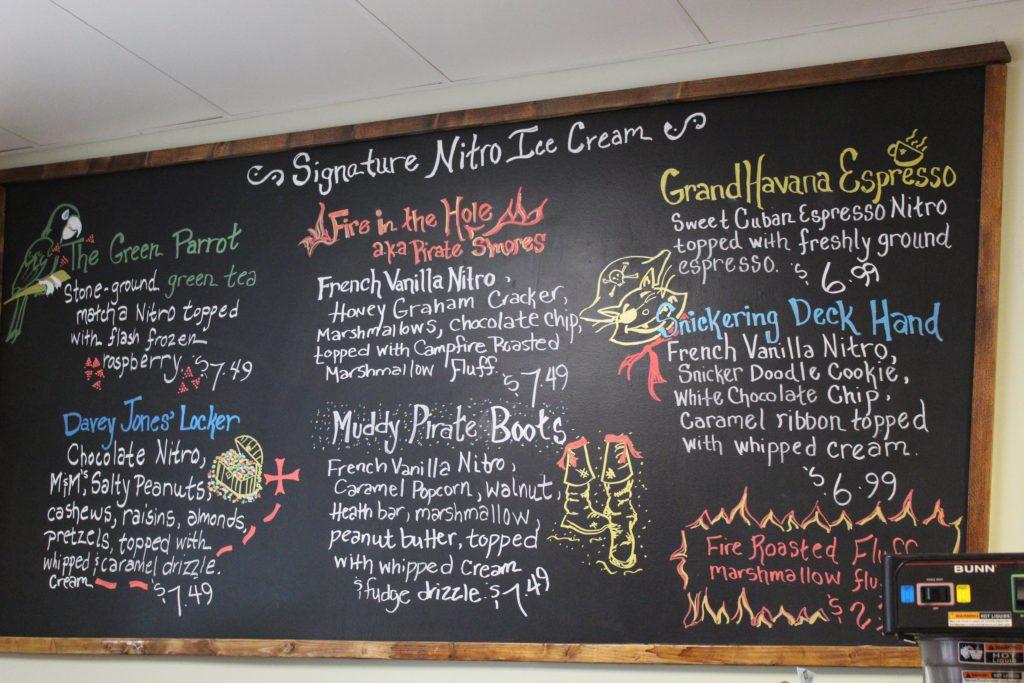 menu board with signature nitro ice cream flavors
