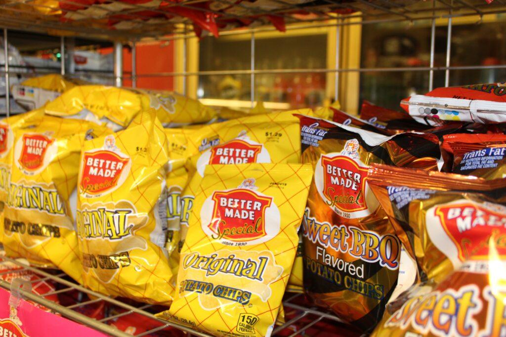 Rack of BetterMade potato chips