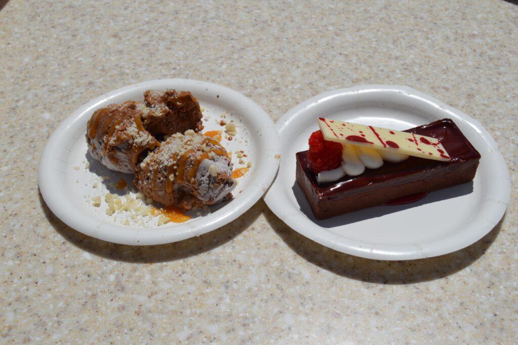 chocolate nitro mousse dessert and chocolate tart with raspberry.