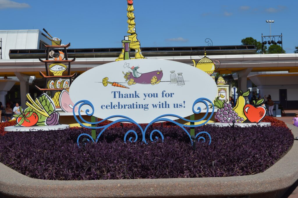 """""""Thank you for celebrating with us"""" sign at Epcot Food & Wine Festival"""