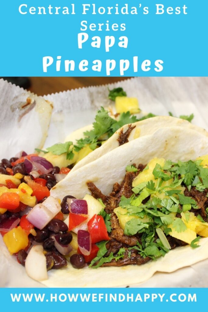 Pinterest graphic with picture of pork pineapple tacos