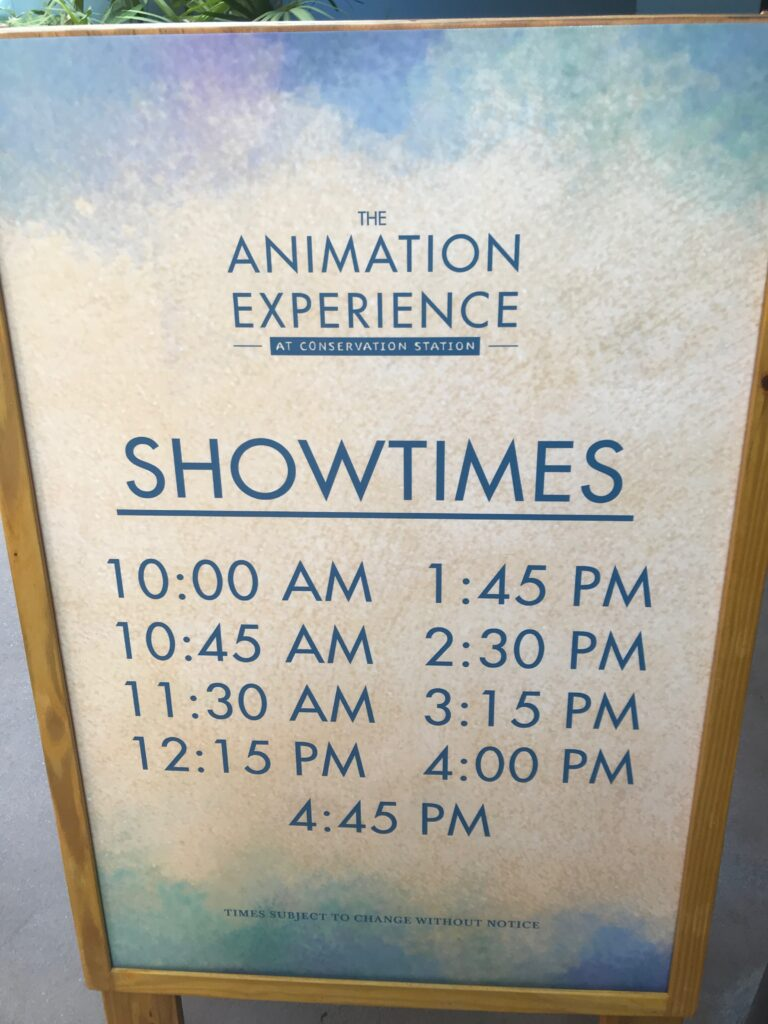 Animation Experience sign with times