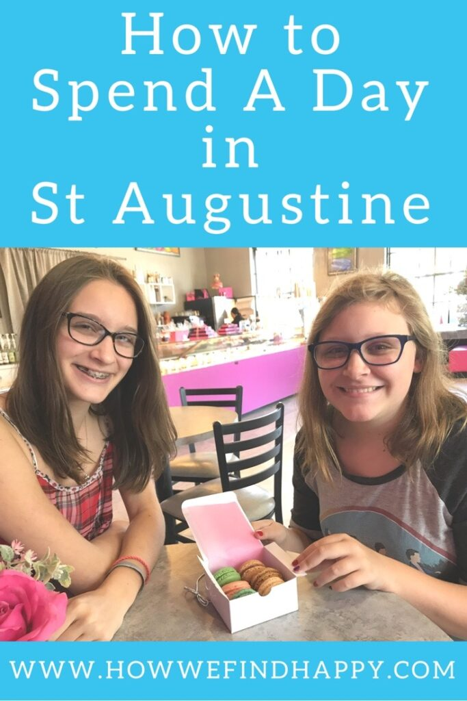 Teens eating macarons in St Augustine pinterest graphic