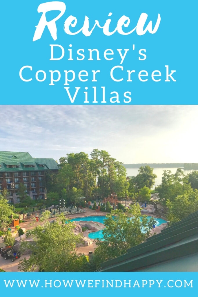 Balcony view at Disney's Copper Creek Villas review and tour pinterest graphic