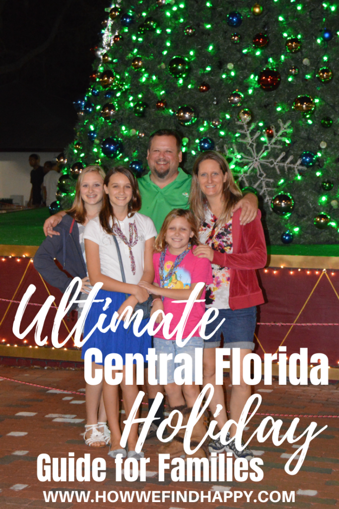 Family in front of Christmas tree in Mount Dora. Pin for Central Florida Holiday Guide for Familes