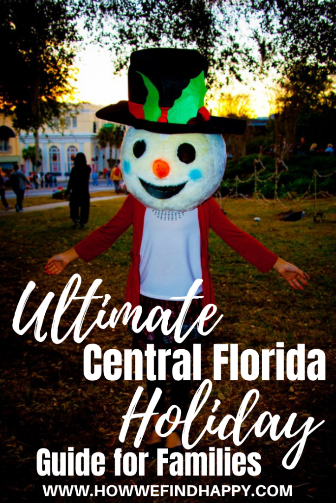 Young girl with snowman head at Mount Dora Light Up