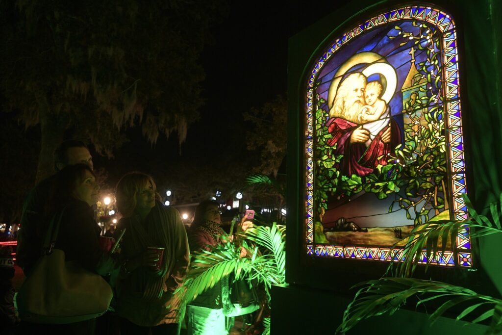 Christmas in the Park in Winter Park with Tiffany lead glass window