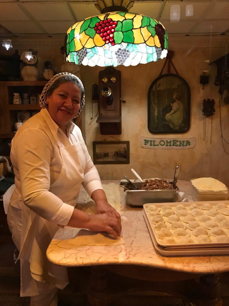 Chef making homemade pasta at Filomena's in Washington DC