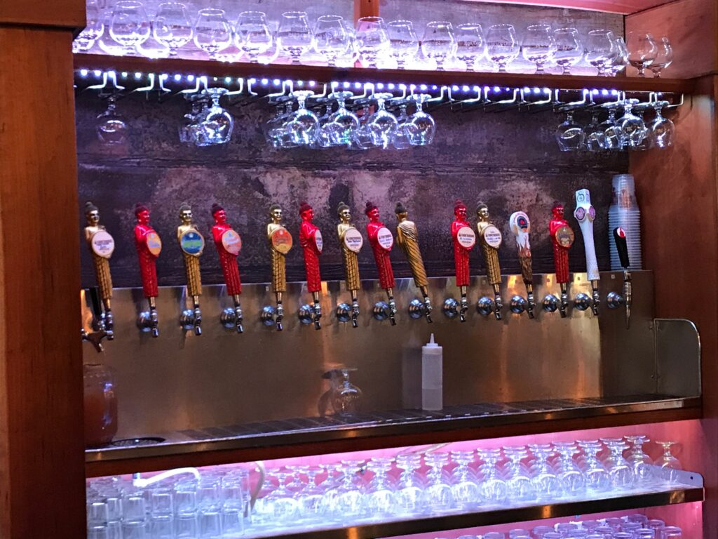 Tap handles in Funky Buddha brewery in Fort Lauderdale