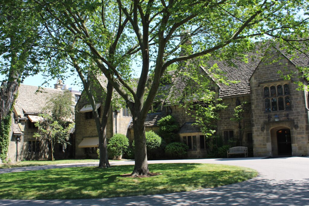 Front outside view of Ford House: home of Edsel and Eleanor Ford