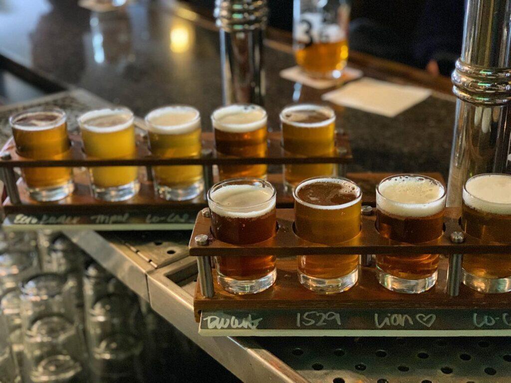 Detroit Beer Co flight Breweries in Detroit area