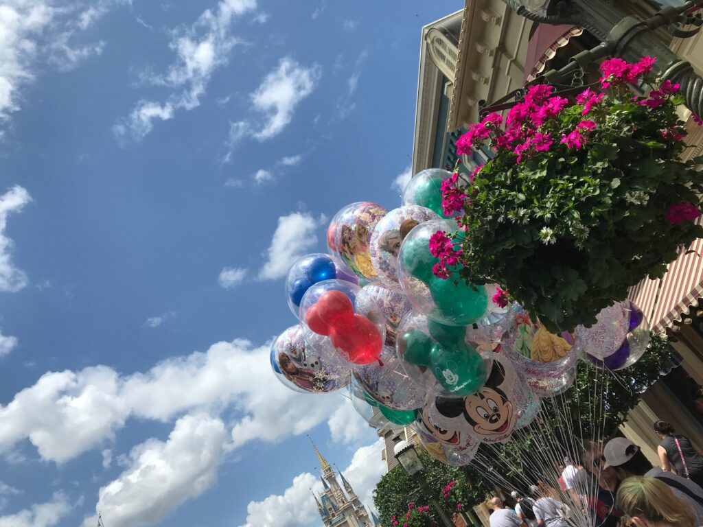 Magic Kingdom Balloons with castle in background