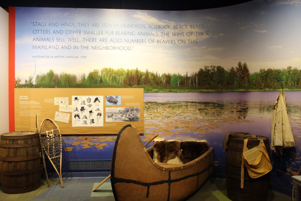 Canoe exhibit inside Dossin Great Lakes Museum in Belle Isle Park Detroit
