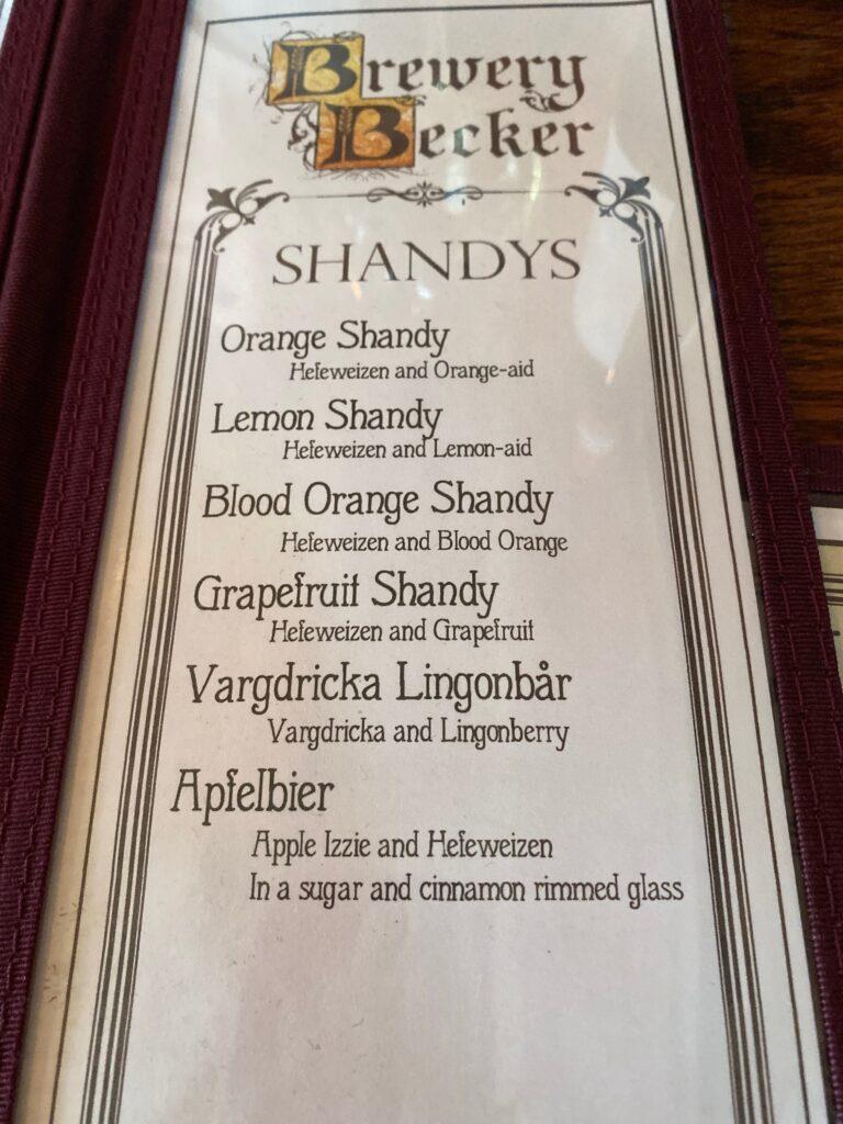 Brewery Becker menu of Shandys