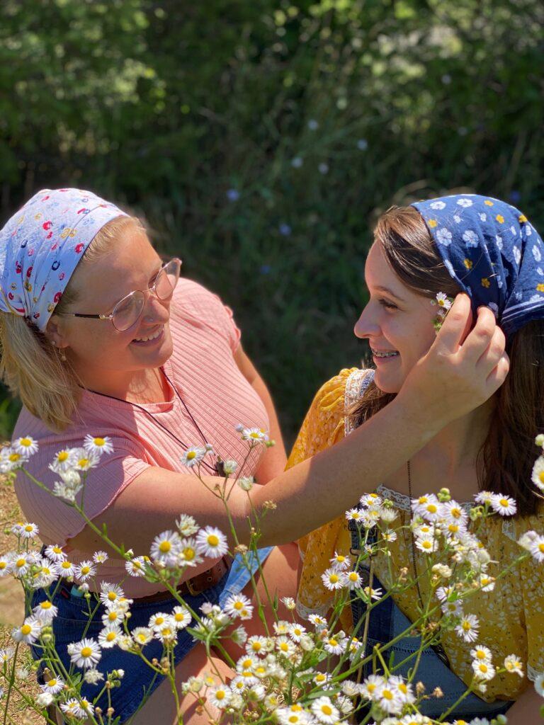 Girls in flower field outside South Haven
