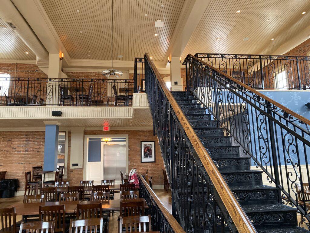 Rod iron stairway in Brewery Becker
