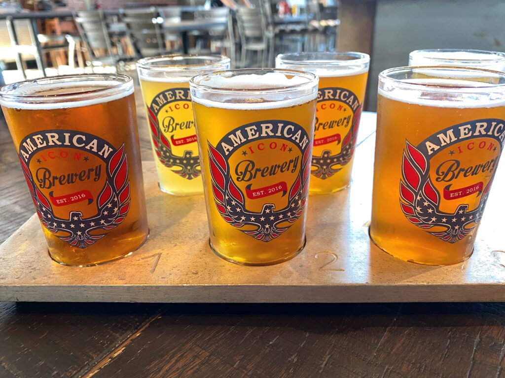 American Icon Brewery flight of beer