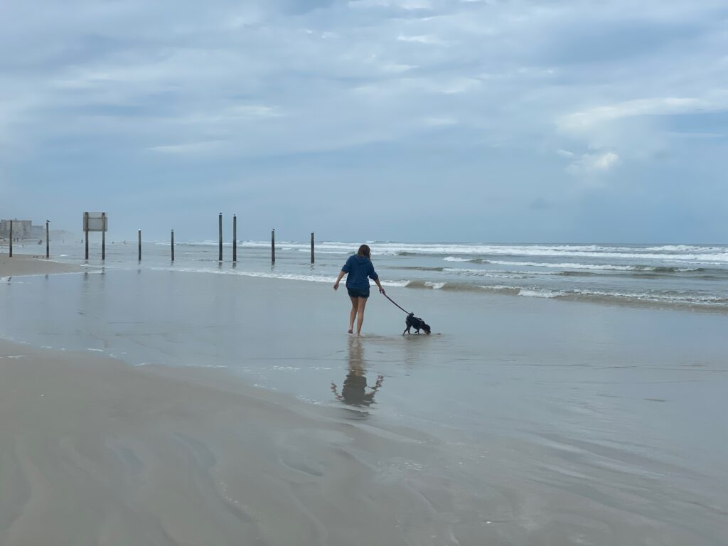 girl and dog walking on New Smyrna Beach