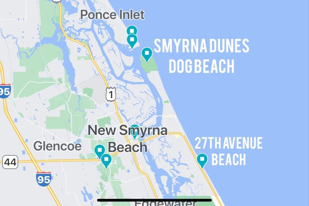 Map showing location of Smyrna Dunes Dog Beach