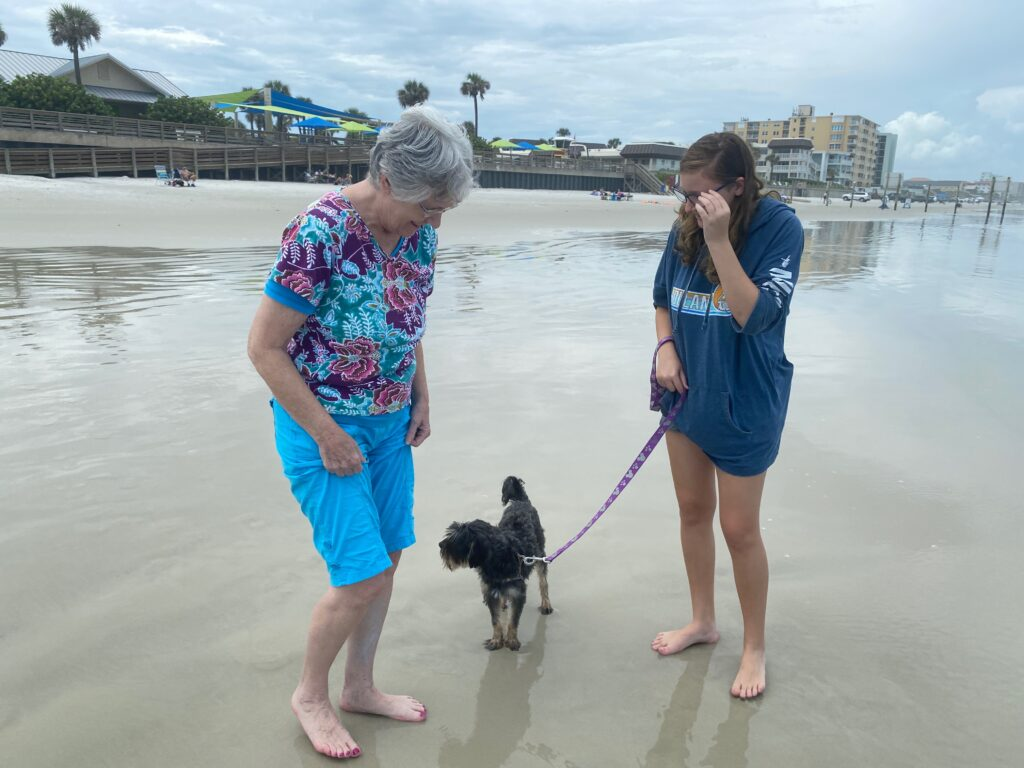 girl and grandma walking with dog on beach