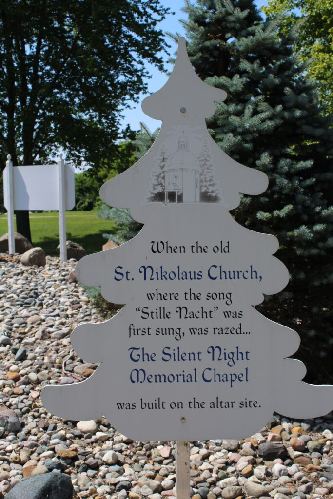 Educational sign about Silent Night Chapel